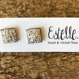 Light Gold Square Stud Estelle Earrings