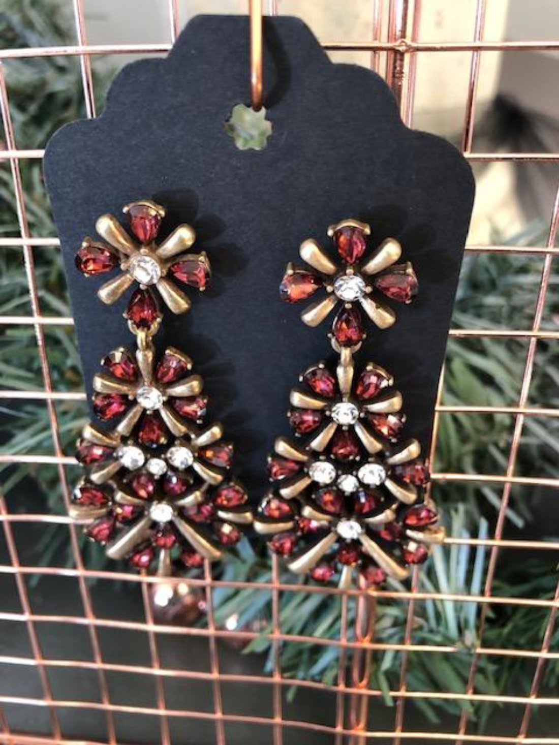 Garnet Red and Gold Sparkle Earrings