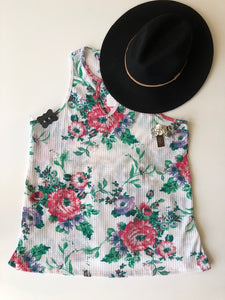 Floral White Waffle Tank