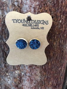 T Young Blue Stone Earrings