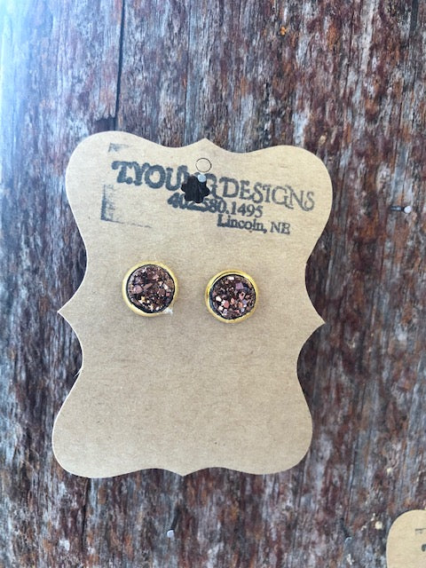T Young Earrings Dark Rose Gold/Gold
