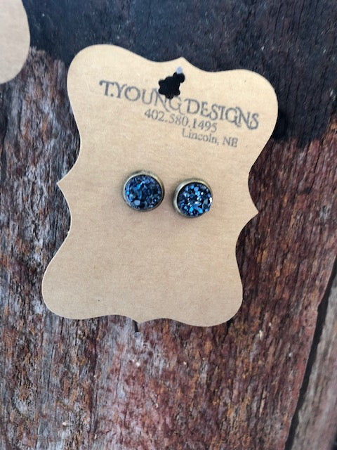 T Young Small Blue Stone/Hematite Earrings