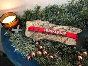 Nebraska Red Bracelet w/ Huskers in Rocks