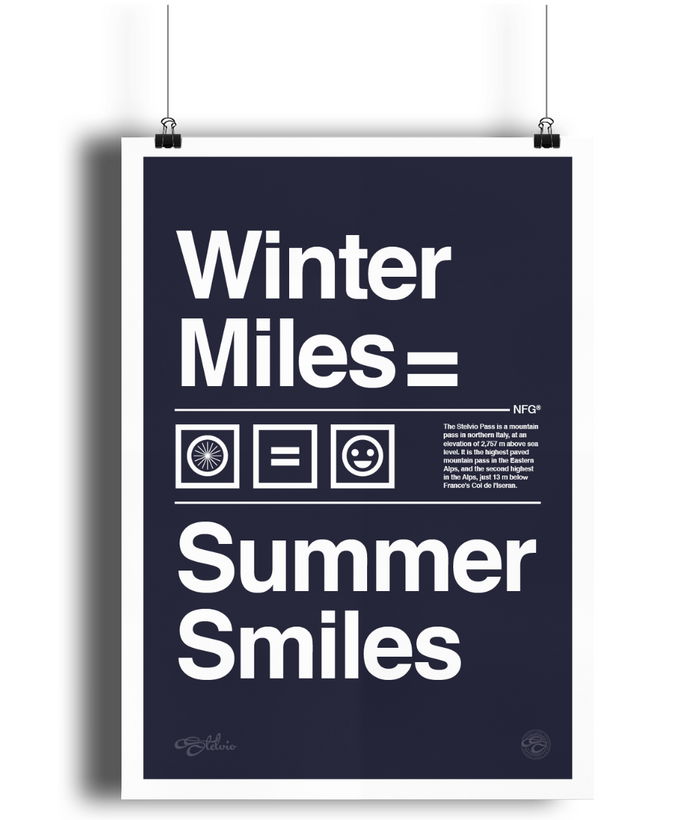 Stelvio Winter Miles Summer Smiles Poster