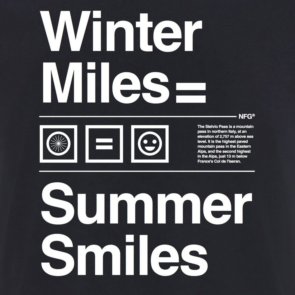 First edition Stelvio T-Shirt Navy - Winter Miles = Summer Smiles