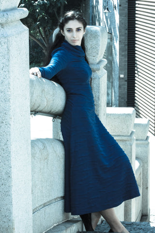 Women Iris in blue - modest ribbed sweater dress