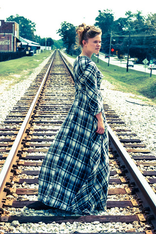 "Anna Clack wearing our modest plaid dress ""Susan"""