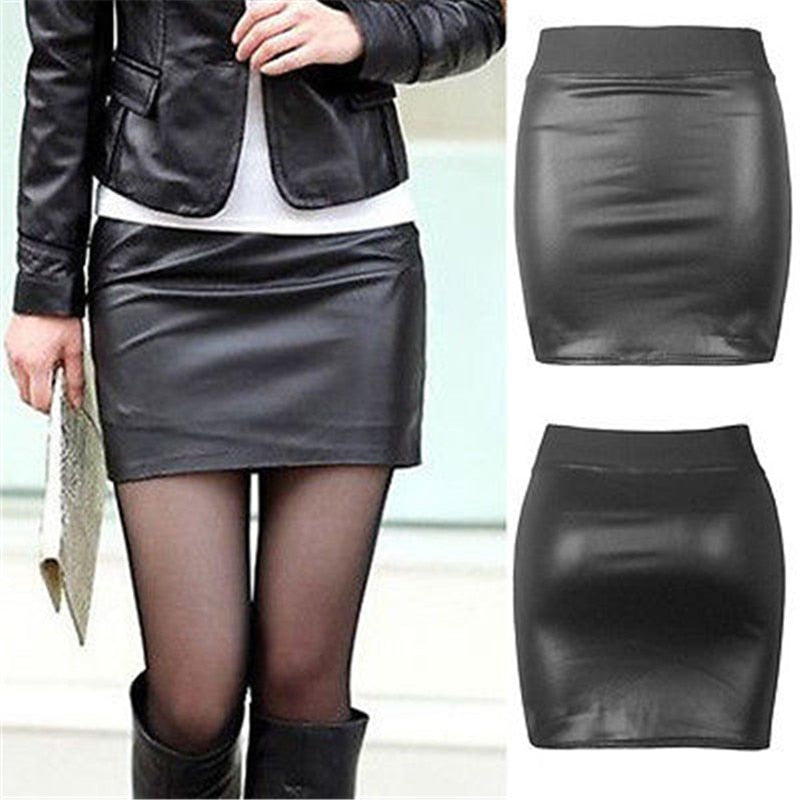 Leather Skirts Women Solid