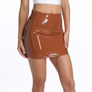 Leather Skirt Shiny  Mini  Women Skirts