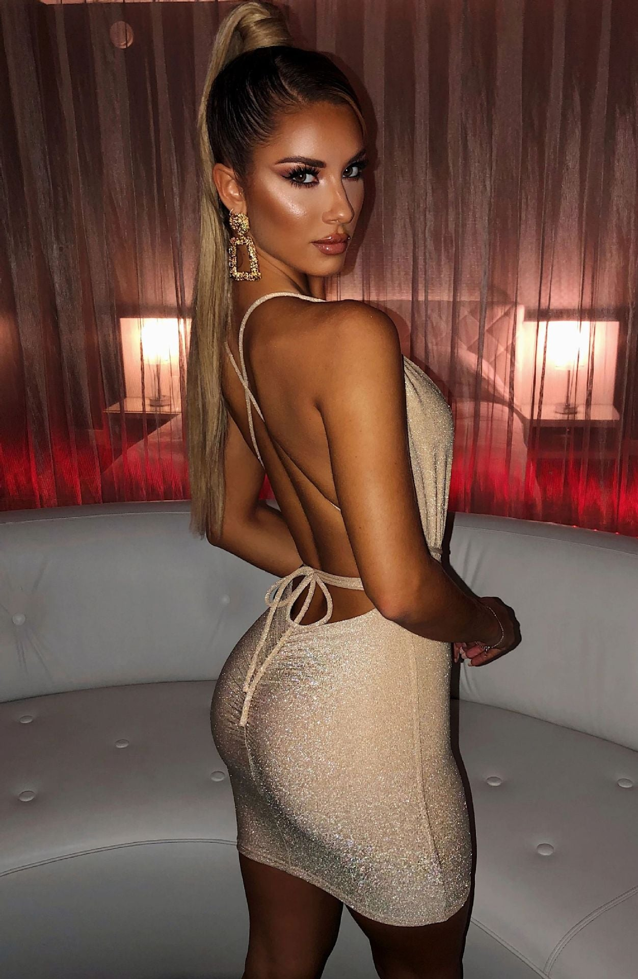 Backless Glitter Dress Women  Deep V