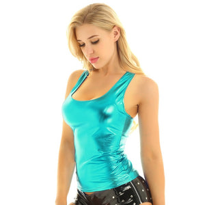 iiniim Womens Femme Fashion Clubwear Punk Dance Tanks Tops Shiny Metallic Racer Back Slim Fit Summer Camisole Tank Top Vest Top