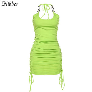 NIBBER 2020 summer club vacation birthday party night sling dress women sexy fashion solid color skinny kawaii mini wrap dress