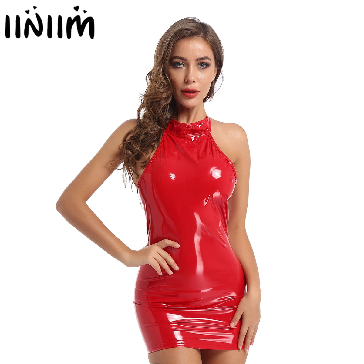 Womens Ladies Wetlook Sexy Mini Dress Patent Leather Skinny Cocktail Party Dresses Bodycon Mini Dress for Clubwear Costumes