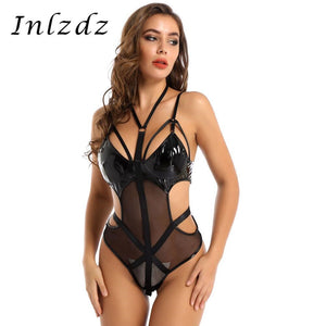 Womens Erotic Sexy Lingerie Latex Bodysuit Patent Leather and Mesh Patchwork Halter Neck Cut Out Waist Leotard Bodysuit Clubwear
