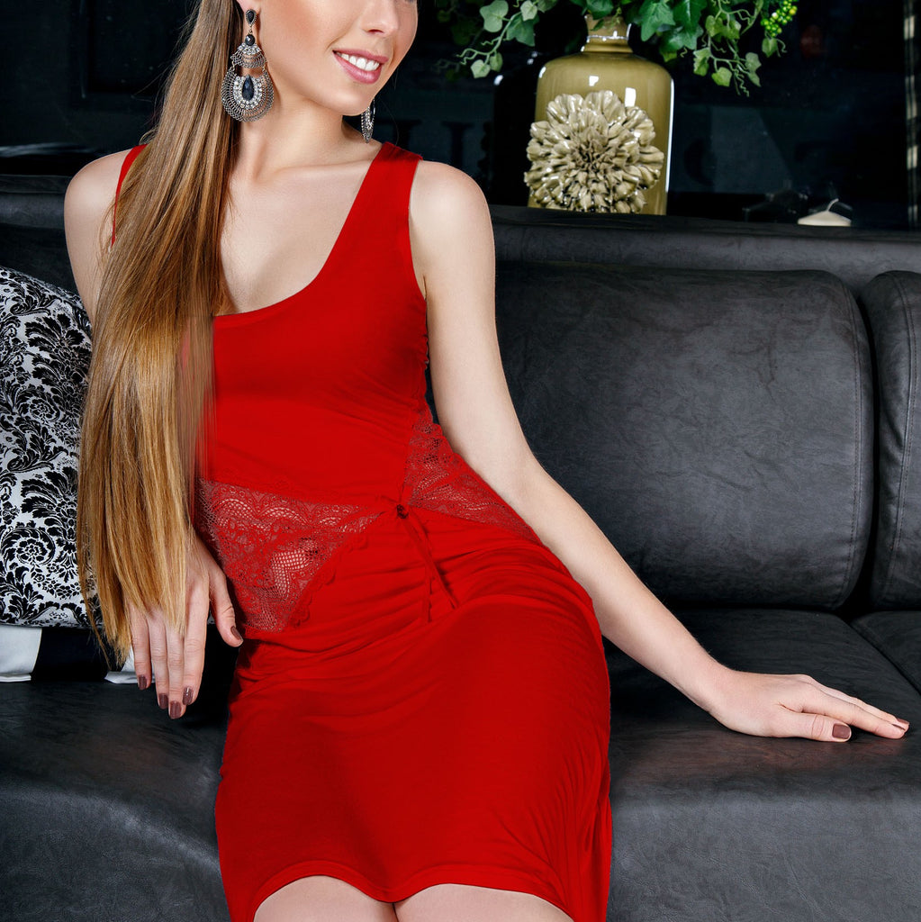ddb4a5ec61a35 Safona Super Soft Viscose Nightgow with Amber Charms Strawberry Red ...