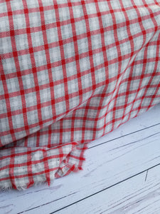 Red & Gray Plaid Cotton Shirting Blend {by the half yard}