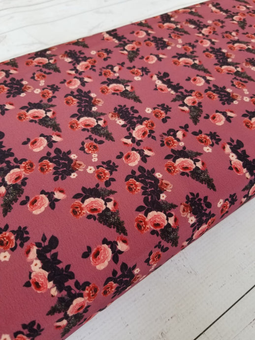 Mulberry & Rose Floral Poly Crepe {by the half yard}