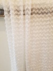 White Raised Chevron Chiffon {by the half yard}