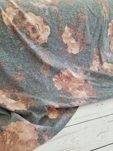 *2 YARD BUNDLE* Denim & Rose Floral Slubbed T-shirt Jersey Knit