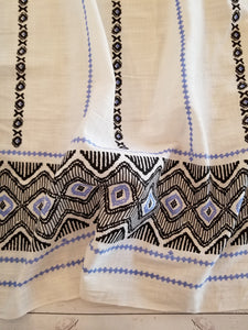 White, Blue & Black Border Print Cotton Linen Blend {by the half yard}