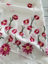 Pink Embroidered Floral Border & White Viscose Challis {by the half yard}
