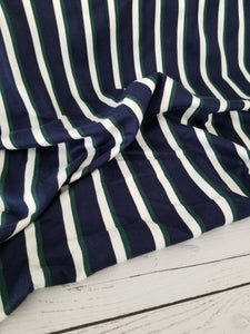 Navy, Green & White Stripes Double Brushed Poly (DBP) Knit {by the half yard}