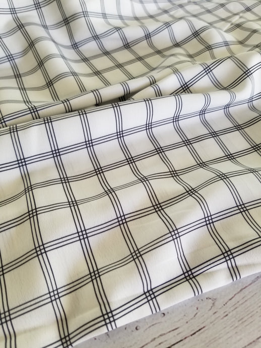 Exclusive Design- White & Black Triple Window Pane Plaid Poly Crepe {by the half yard}
