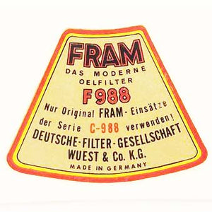 "DECAL - ""FRAM"" OIL FILTER - M512"