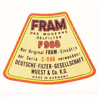 Oil Filter Decal (FRAM) - M31A