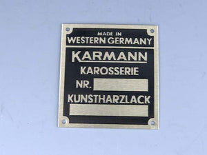 "PLAQUE - ""KARMANN"" I.D. NUMBER - M555"