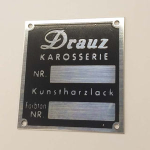 "Body Number Plaque - ""DRAUZ KAROSSERIE"" - M74"