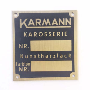 "Body Number Plaque - ""KARMANN KAROSSERIE"" - M75"
