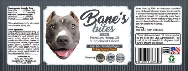 Bane's Bites - 60mg Premium Hemp Oil Supplement (30 Beef Chews/ 2mg Each) PAHO, INC.