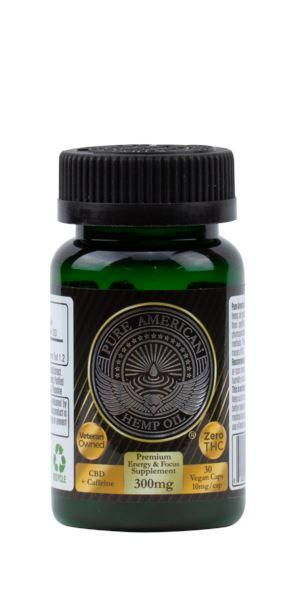 PAHO - 300mg Premium Hemp Oil Supplement + Caffeine (30 Vegan Caps / 10mg Each) PAHO, INC.