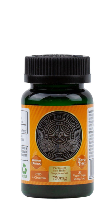 PAHO - 750mg Premium Hemp Oil Supplement + Curcumin (30 Vegan Caps / 25mg Each) PAHO, INC.