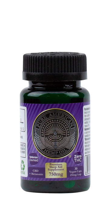 PAHO - 750mg Premium Hemp Oil Supplement + Melatonin (30 Vegan Caps / 25mg Each) PAHO, INC.