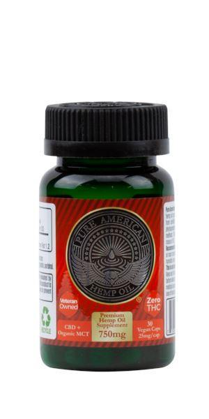 PAHO - 750mg Premium Hemp Oil Supplement + Organic MCT (30 Vegan Caps / 25mg Each) PAHO, INC.