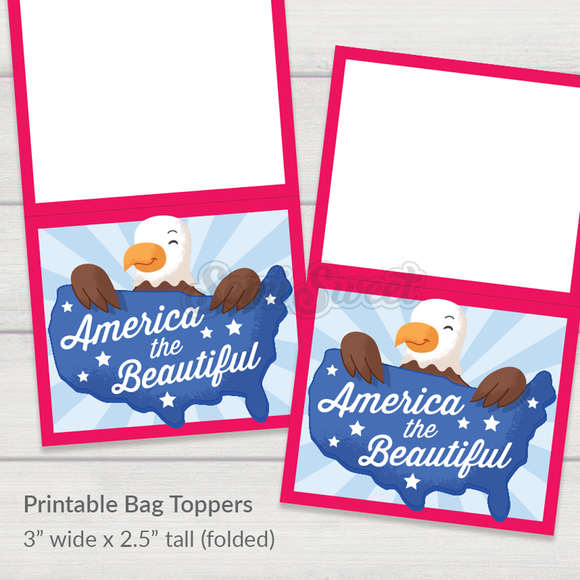America the Beautiful - Instant Download Printable Bag Topper