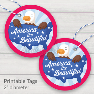 "America the Beautiful - Instant Download Printable 2"" Circle Tag"