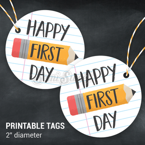 "Happy First Day - Instant Download Printable 2"" Circle Tag"