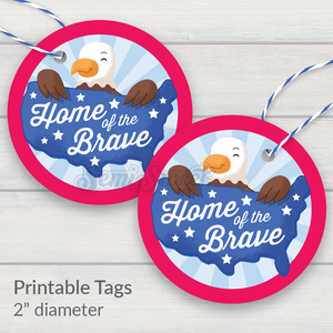 "Home of the Brave - Instant Download Printable 2"" Circle Tag"