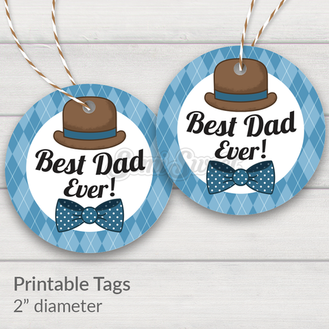"Dapper Best Dad Ever - Instant Download 2"" Circle Tag"