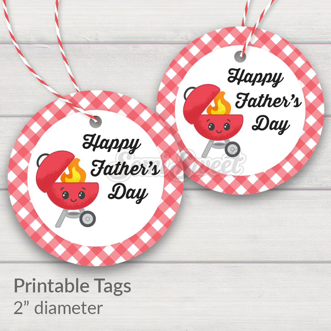 "Happy Father's Day Grill - Instant Download Printable 2"" Circle Tag"