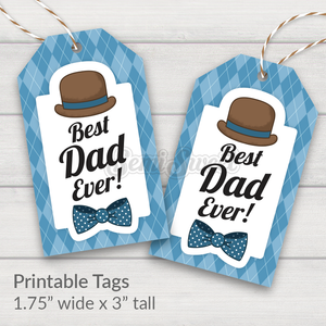 Dapper Best Dad Ever - Instant Download Printable Tag