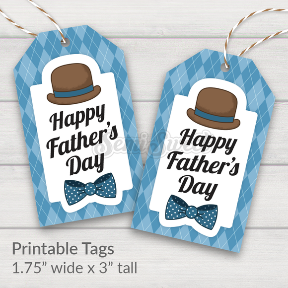 Dapper Happy Father's Day - Instant Download Printable Tag