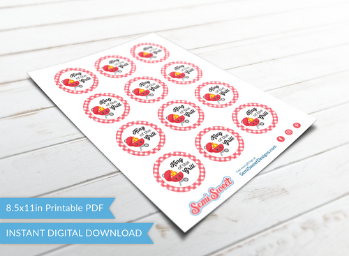 "King of the Grill - Instant Download Printable 2"" Circle Tag"