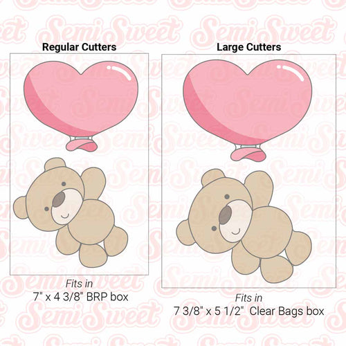 Teddy Bear & Heart Balloon Cookie Cutter Set