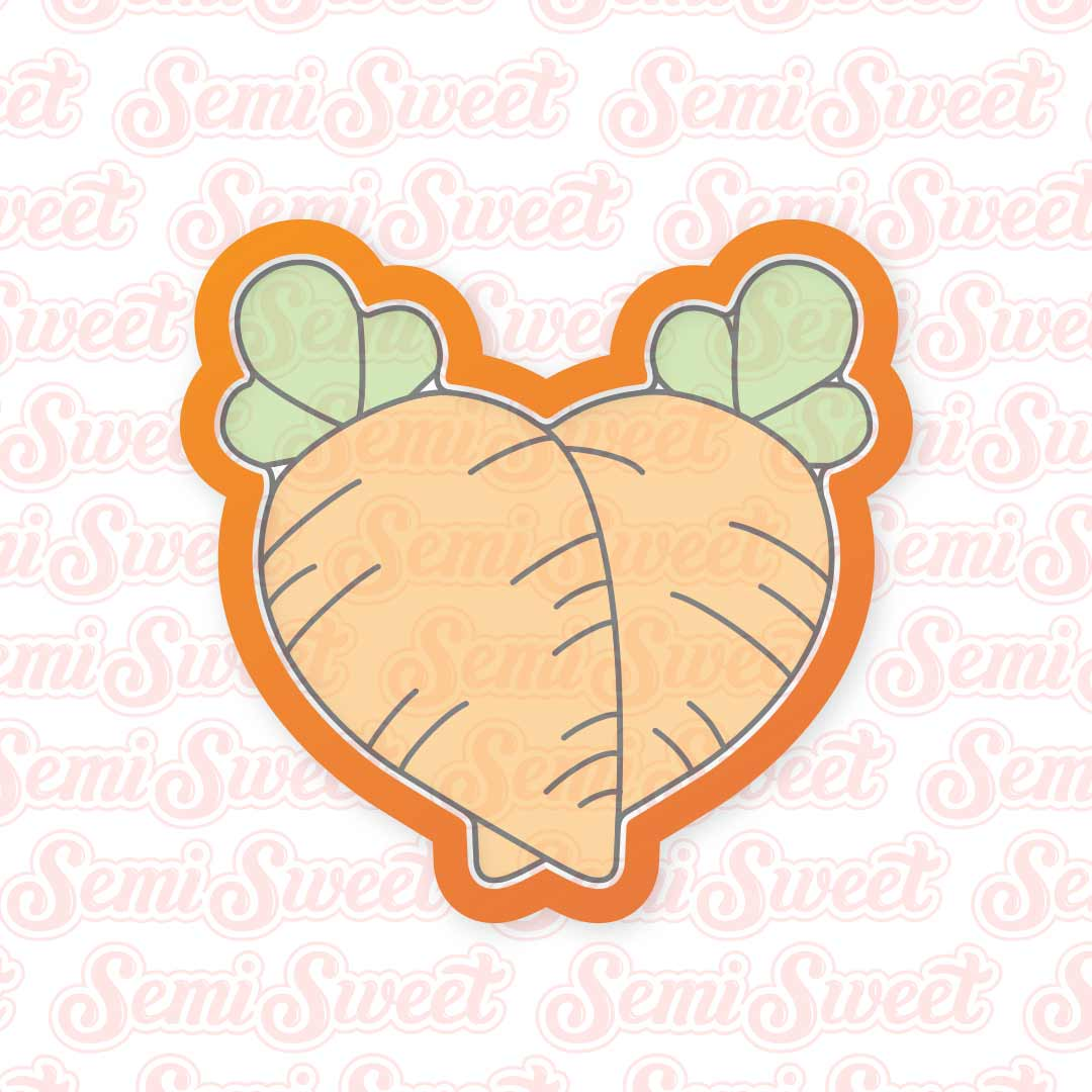 Carrot Heart Cookie Cutter | Semi Sweet Designs