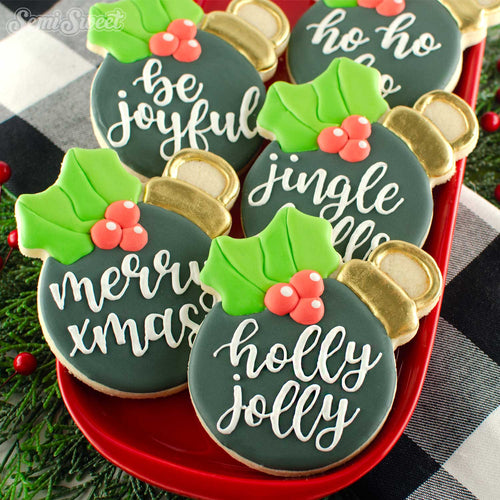 Christmas Holly Ornament Cookies | Semi Sweet Designs