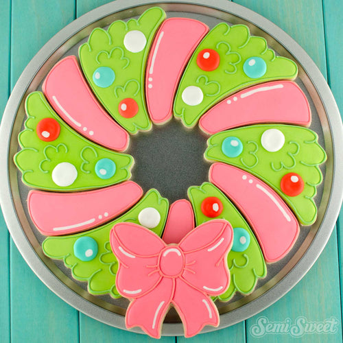 Christmas Wreath cookie platter | Semi Sweet Designs